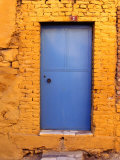 Blue Door on Yellow Brick House  Milas  Mugla  Turkey