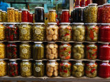 Preserves in Jars Stacked on Shelf  Istanbul  Turkey