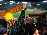 Soccer Fans at Roma Vs Ajax Amsterdam Match at Champions League Game Stadio Olimpico  Rome  Italy