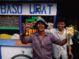 Local Characters Playing Up to Camera in Front of Food Stall  Jakarta  Indonesia
