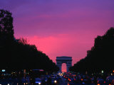 Traffic on the Champs-Elysees and the Arc De Triomphe After Sunset  Paris  Ile-De-France  France