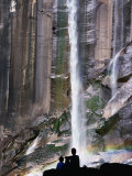 People Gaze at Vernal Falls as It Cascades Down a Granite Rock Face  Yosemite  California  USA