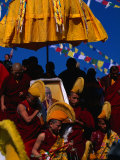 Tibetan Lamas Carrying Photo of Dalai Lama During Tibetan New Years Festival  Nepal