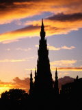 Scott Monument on Princes Street at Sunset  Edinburgh  United Kingdom