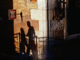 Late Afternoon Shadows on a Backstreets Wall  Venice  Veneto  Italy