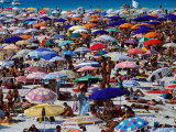 Many Umbrellas at Spiaggia Di Pelosa  Stintino  Sardinia  Italy