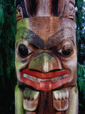 Detail of Totem Poles at University of Washington State Burke Museum  Seattle  Washington  USA