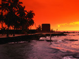 Orange Sunset Over the Sacred Bay  South Kona Coast  Puuhonua O Honaunau National Park  Hawaii  USA