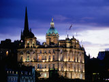 The Bank of Scotland Illuminated at Night  Edinburgh  United Kingdom  Scotland