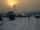 Snow-Covered Train Station at Dawn  Kaunas  Lithuania