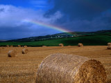 Straw Bales and Rainbow at Harvest Time  Ireland