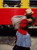 Food Vendor at Ollantaytambo Station on the Cuszo-Aguas Calientes Train Line  Cuzco  Peru