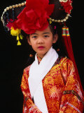 Portrait of Girl Dressed in Traditional Manchurian Costume  Chengde  China