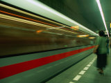 Moving Train in Metro  Blur  Prague  Czech Republic