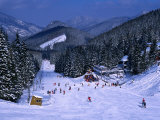 People Skiing on Jasna Run  Jasna Resort  Low Tatra Mountains  Slovakia