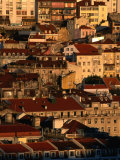 Sunset View of Houses Packed in Below Castelo De Sao Jorge  Castelo  Lisbon  Portugal