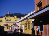 Colourful Buildings in Street  Antigua Guatemala  Sacatepequez  Guatemala