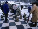 Men Playing Outdoor Chess in Winter  Helsinki  Finland