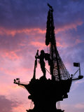 Peter the Great Monument Near Gorky Park Silhouetted at Sunset  Moscow  Russia