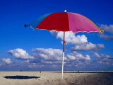 A Lone Beach Umbrella on Miami Beach  Miami  Florida  USA