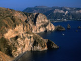 Coastline from Village Quattroochi and Island Vulcano in Background Sicily  Italy