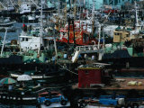 Fishing Boats Crowding Waterfront at Port  Busan  Gyeongsangnam-Do  South Korea