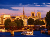 Cruise Boat on Seine River  Heading Under Pont Neuf Bridge  Paris  France