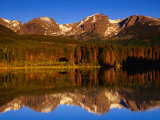 Sprague Lake Provides a Near-Perfect Mirror for the Surrounding Mountains  Colorado  USA