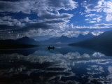 Early Morning Boating in Reflected Sea of Clouds  Lake Mcdonald  Glacier National Park  Montana