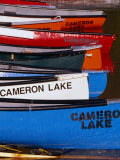 Canoes at Cameron Lake  Waterton Lakes National Park  Alberta  Canada