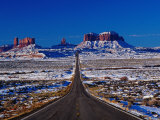 Us 163 Highway in Winter  Seen from Monument Pass  Monument Valley  USA