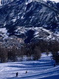 People Skiing Towards Town  Briancon  France