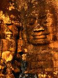 Smiling Lokesvara Bodhisattva Image Adorning the Bayon Temple of Angkor Thom  Angkor  Cambodia