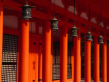 Lanterns and Red Pillars on Replica of Imperial Palace at Heian-Jingu Shrine  Kyoto  Japan