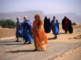 Local People Travel the Road Between Nouadhibou and Mouackchott  Mauritania