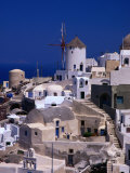 Traditional Village Houses  Stairs and Windmill  Oia  Santorini Island  Greece