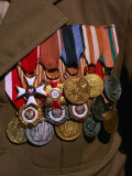 Medals on Breast of War Veteran  Warsaw  Poland