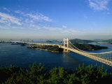 Seto-ohashi bridge over Inland Sea to Shikoku  Washuzan  Japan