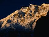Dawn Light on Lamjung Himal on Annapurna Trek  Gandaki  Nepal