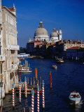 Grand Canal and Domes of Chiesa Di Santa Maria Della Salute in Distance  Venice  Italy