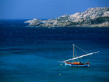 Traditional Sailboat on Rocky Coast of Island  Sassari  Maddalena  Sardinia  Italy
