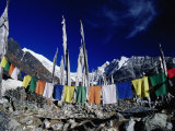 Buddhist Prayer Flags at the Kyanjin Gompa  Langtang  Bagmati  Nepal