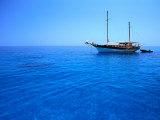 Yacht Anchored in Waters of Gulf of Orosei  Sardinia  Italy