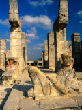 Chac Mool with Serpent Columns  Portico of Temple of the Warriors  Chichen Itza  Yucatan  Mexico