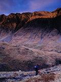 Hiker Descending to Glencoe  Scotland