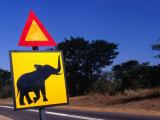 Warning Sign on Road Victoria Falls Park  Matabeleland North  Zimbabwe