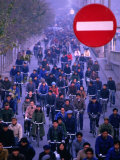 People on Bicycles at Rush Hour  Beijing  China