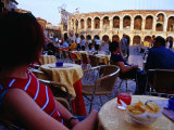 Traveller Relaxing at Outdoor Cafe on Piazza Bra  Verona  Italy