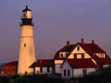 Dusk at Portland Head Lighthouse on Cape Elizabeth  Fort Williams State Park  USA