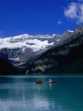 Canoeing Lake Louise in the Canadian Rockies  Lake Louise  Alberta  Canada